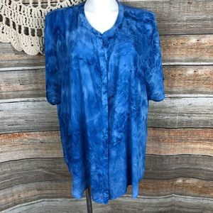 New Fred David 4x Blue Marbled Blouse